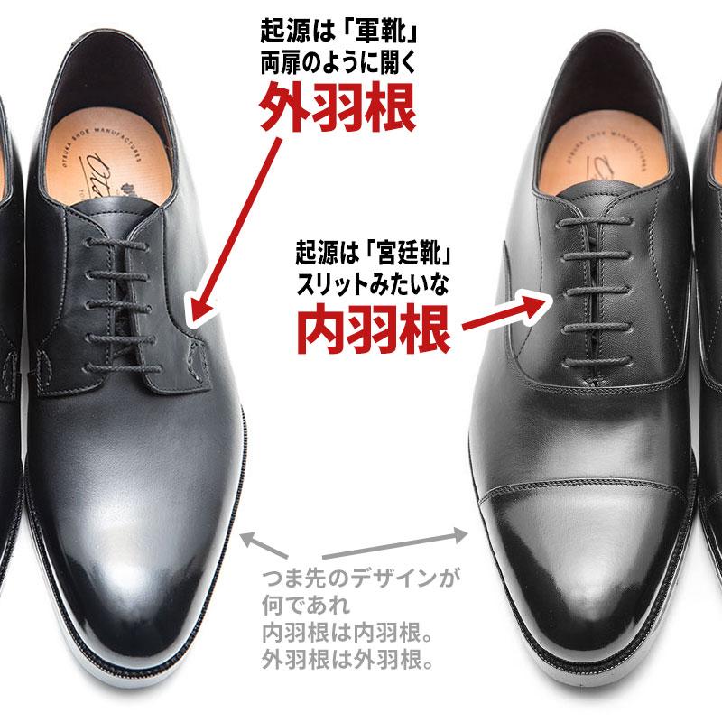 靴ひもを通すパーツ(羽根)の先端が縫われているタイプを内羽根。縫われていないタイプを外羽根と呼びます。外羽根の方が羽根のピラピラしているためカジュアルなのですが、甲高な足でもフィットする特徴があります。